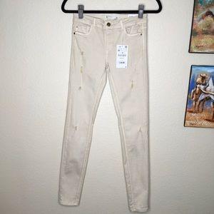 Zara Super Skinny Cream Distressed Jeans Size 6